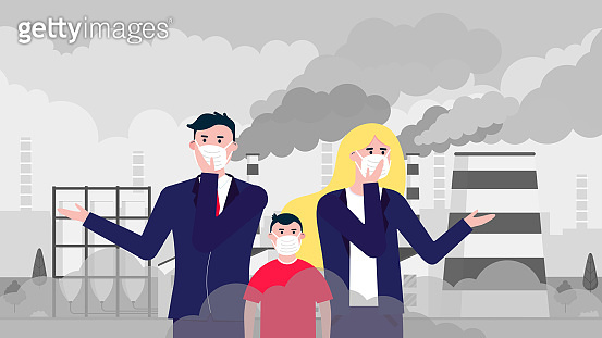 Confused man, woman, kid masks against smog. Fine dust, air pollution, industrial smog protection concept flat style design vector illustration. Industrial plant pipes with huge clouds of smoke behind