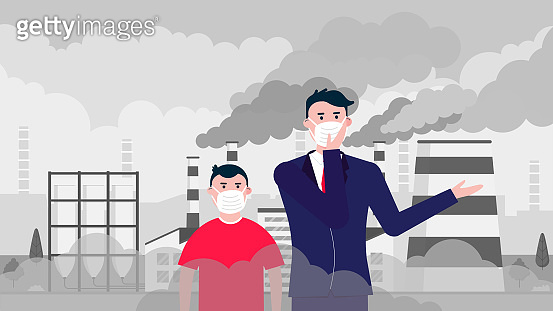 Confused man and boy wearing massk against smog. Fine dust, air pollution, industrial smog protection concept flat style design vector illustration. Industrial factory pipes with huge clouds of smoke.