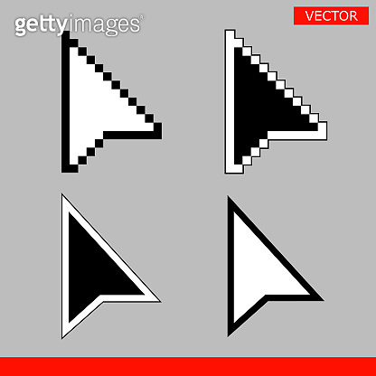 Black and white arrow pixel and no pixel mouse cursors icons signs vector illustration set flat style design isolated on gray background.