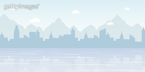 Foggy cityscape panorama flat vector illustration. Urban landscape, modern metropolis skyline decorative background concept with copyspace. Scenic coastline, buildings and mountains silhouette