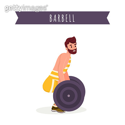 Heavy weight lifting flat vector illustration. Young bodybuilder in sportswear, professional athlete working out with barbell cartoon character. Back muscles training, powerlifting contest banner