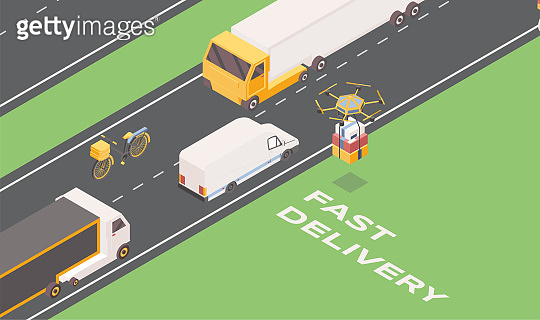 Fast delivery isometric banner template. Cartoon trucks, van and drone carrying parcels. Express goods shipment advert, postal service transportation vehicles, logistic company promo poster layout