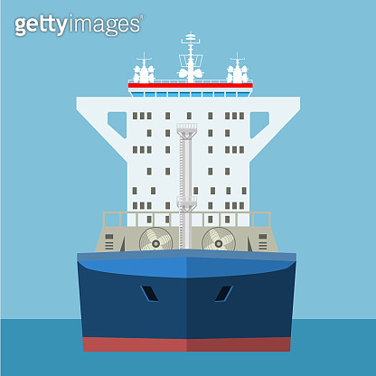 Empty Cargo Container ship with front view. Freight Transportation concept. Vector illustration.