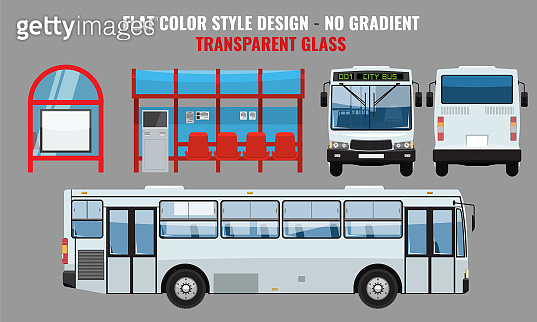 City Bus and Bus stop, side front and back view. Flat color style vector illustration.