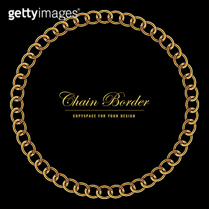 Golden Chain Square Border Frame. Circle Border with golden color. Jewelry Design. Vector illustration.