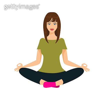 Woman doing yoga in lotus position, front view. Flat vector illustration.