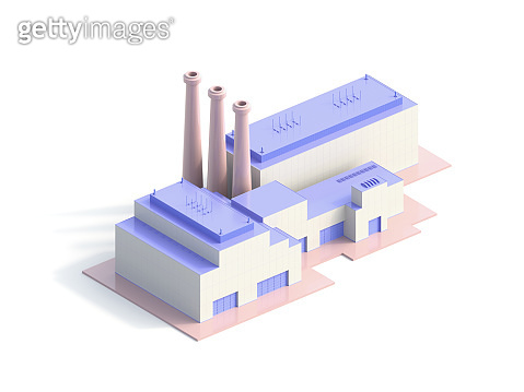 Isometric Industrial big Factory Building - 3d Illustration
