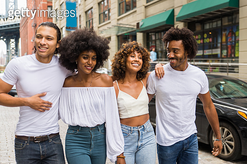 Group of afroamerican friends meeting in New York