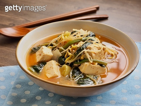 Korean food Spinach and bean sprouts Soybean Paste Soup