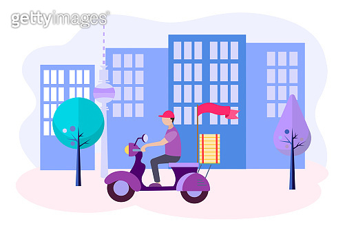 Concept Fast delivery of goods in the city. Vector illustration.