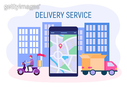 Delivery service concept vector illestration. Courier on a moped delivers goods around the city.