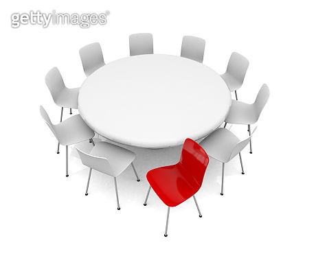 Red Different Chair, Leadership Concept, Minimal Design