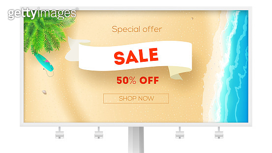 Billboard for actions of sales. Sale, get up to 50 percent discount. Seashore with green palm, surfboard on yellow sand, sea surf. Vector template, 3d illustration