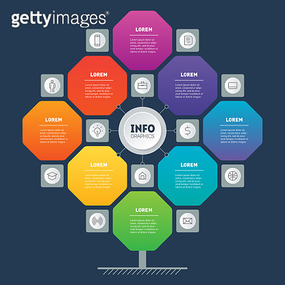 Business presentation concept with 8 options and 12 icons. Brochure design template. Web Template of tree, info chart or diagram. Infographic of technology or education process with eight steps.