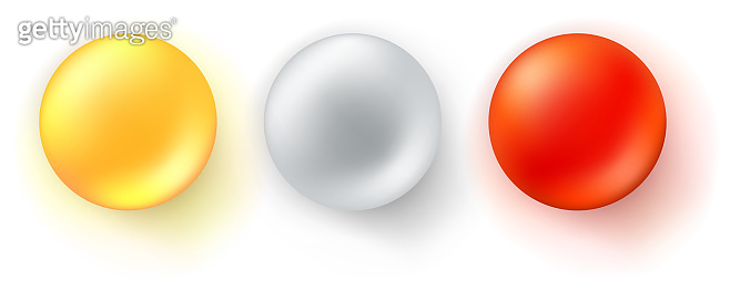 Set of icons of glossy balls. Realistic three-dimensional spheres isolated on white background. Red, yellow and metallic decorative design elements, 3d vector illustration.