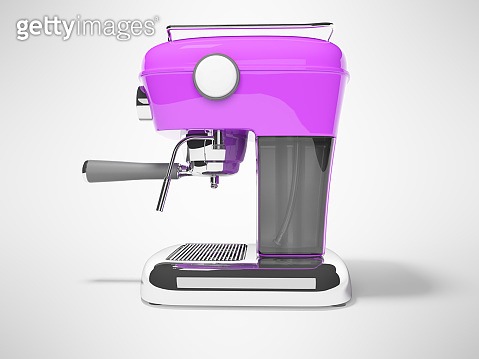 Modern purple horn coffee machine left view with water tank 3D render on gray background with shadow