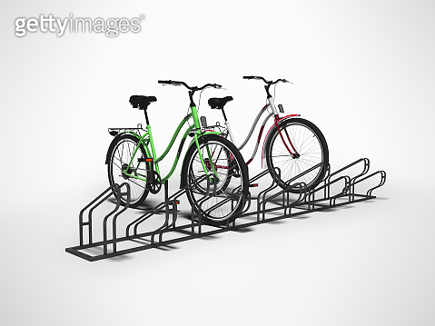 Bicycle parking for ten hairpieces with two hairpieces parked isolated 3d render on gray background with shadow