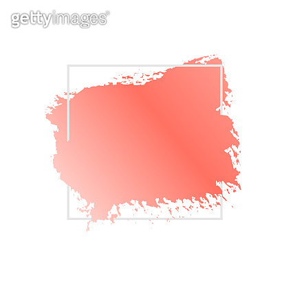Abstract geometric vector background, brush paint illustration, frame, element, shape. Coral pink ink brush stroke texture