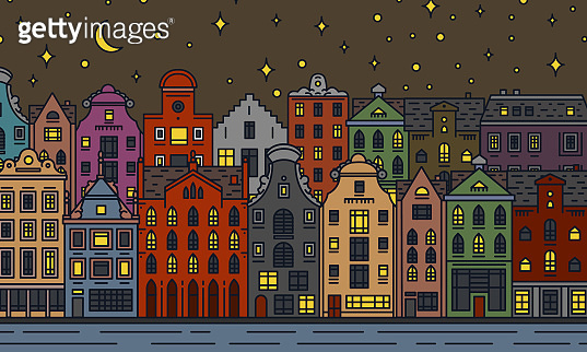 Europe house and apartments. Moon night in Amsterdam. Cute architecture in Amsterdam. Neighborhood with classic street and cozy homes. Building and facades for Banner or poster. Doodle sketch.