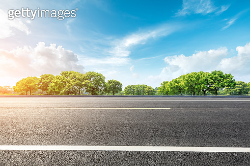 Country road and green forest natural landscape