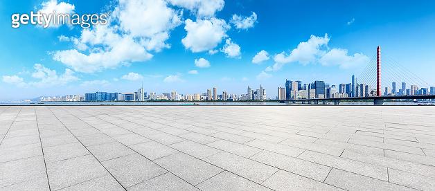 Hangzhou city skyline panoramic and empty square floor