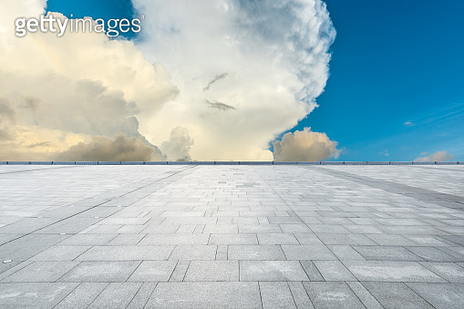 Empty square floor and beautiful sunset clouds