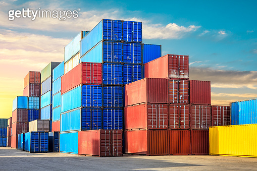 Containers stacked on commercial docks in Shanghai