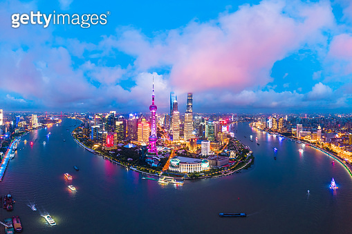 shanghai skyline panoramic view at night.