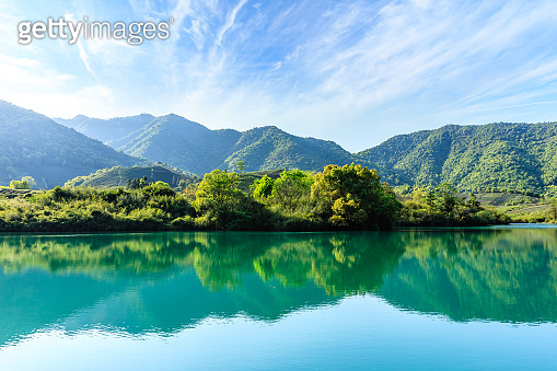 Beautiful mountains and green reflections