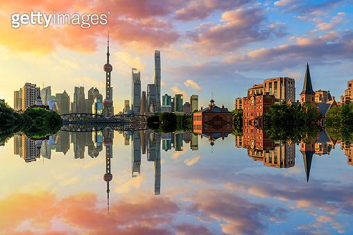 Beautiful Shanghai city scenery at sunrise