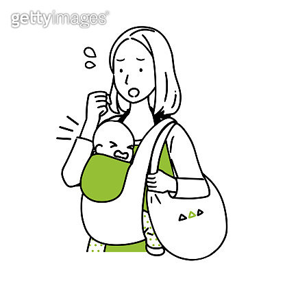 A housewife who goes shopping with a baby.