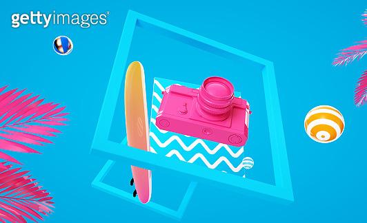 3d render illustration levitation camera and surfboard