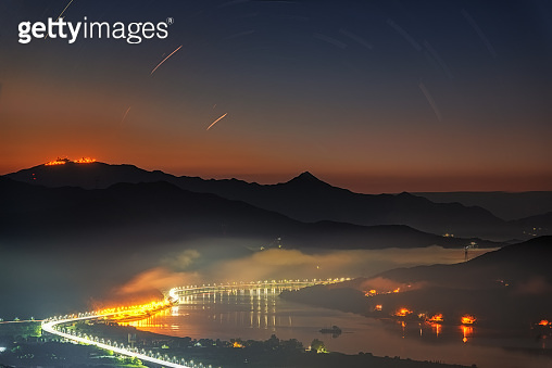 sunrise on Yangsuri with fog. Mountains in Seoul, South Korea.