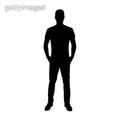 Man standing with hands in pockets. Adult people. Isolated vector silhouette