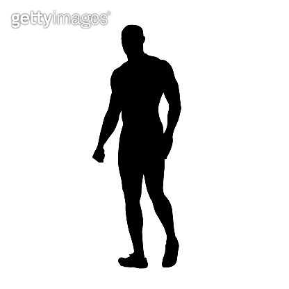 Strong man walking, isolated vector silhouette. Hero with big muscles