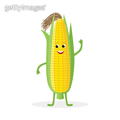 Corn cartoon character isolated on white background. Healthy food funny Corn ear mascot vector illustration in flat design.