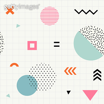 Trendy geometric memphis seamless pattern.