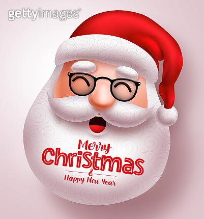 Christmas santa claus vector design. Santa claus happy face with long beard and merry christmas greeting text.