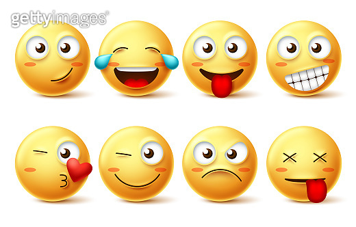 Smiley face vector set. Smileys yellow emoji with happy, funny, kissing, laughing and tired facial expressions