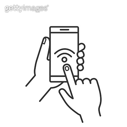 Hands holding NFC smart phone icon