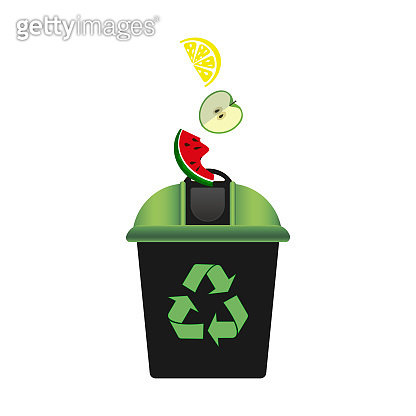 Recycling bin with green lid for waste products. Recycling symbol. Environmental Protection. Zero waste. White background. Vector illustration