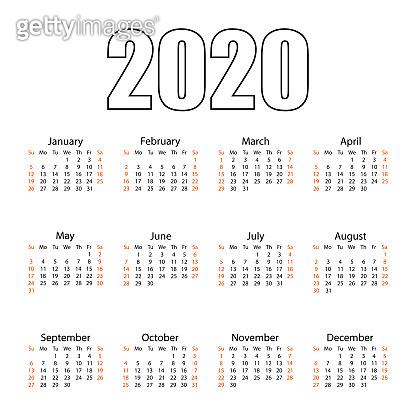 Calendar 2020. Tear-off calendar. Personal organizer. White background. Vector illustration