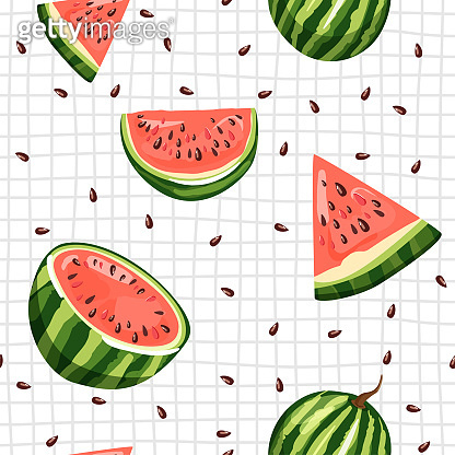 Modern seamless pattern with watermelon, slices and seeds. Summer vibes.