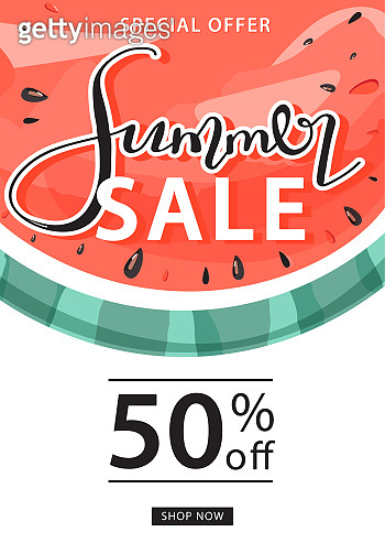 Summer sale promotion banner template. Creative lettering and sweet watermelon for seasonal sales.