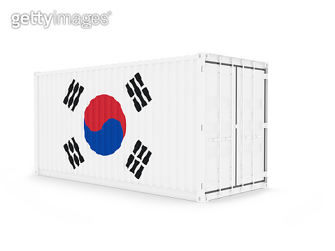 3D Illustration of Cargo Container with South Korea Flag on white background with shadow . Delivery, transportation, shipping freight transportation. 3d illustration.
