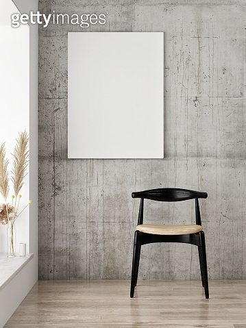 Mock up poster on old concrete wall, Scandinavian concept