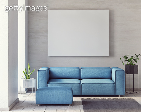 Mock up poster, Minimalism living room with comfortable sofa,
