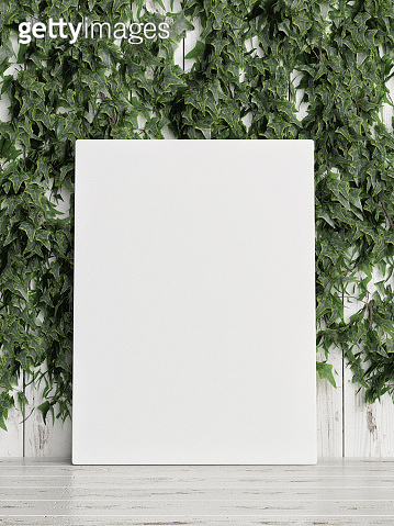 Mock up poster, green plant, ivy and flowers