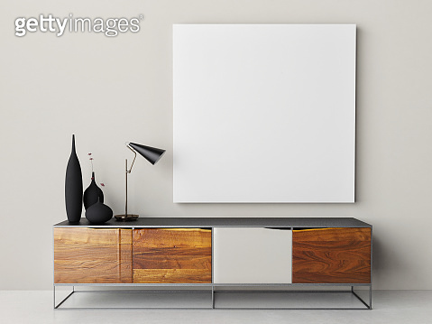 Mock up poster with retro Chest of Drawer, lamp and home decoration