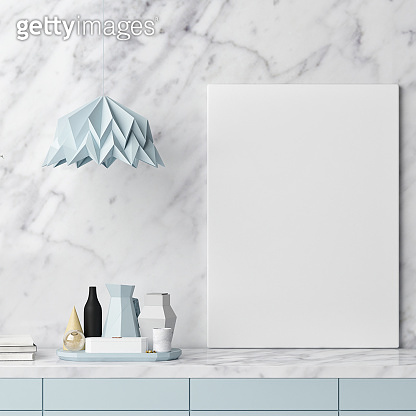 Mock up poster, kitchen stuff on white marble wall.